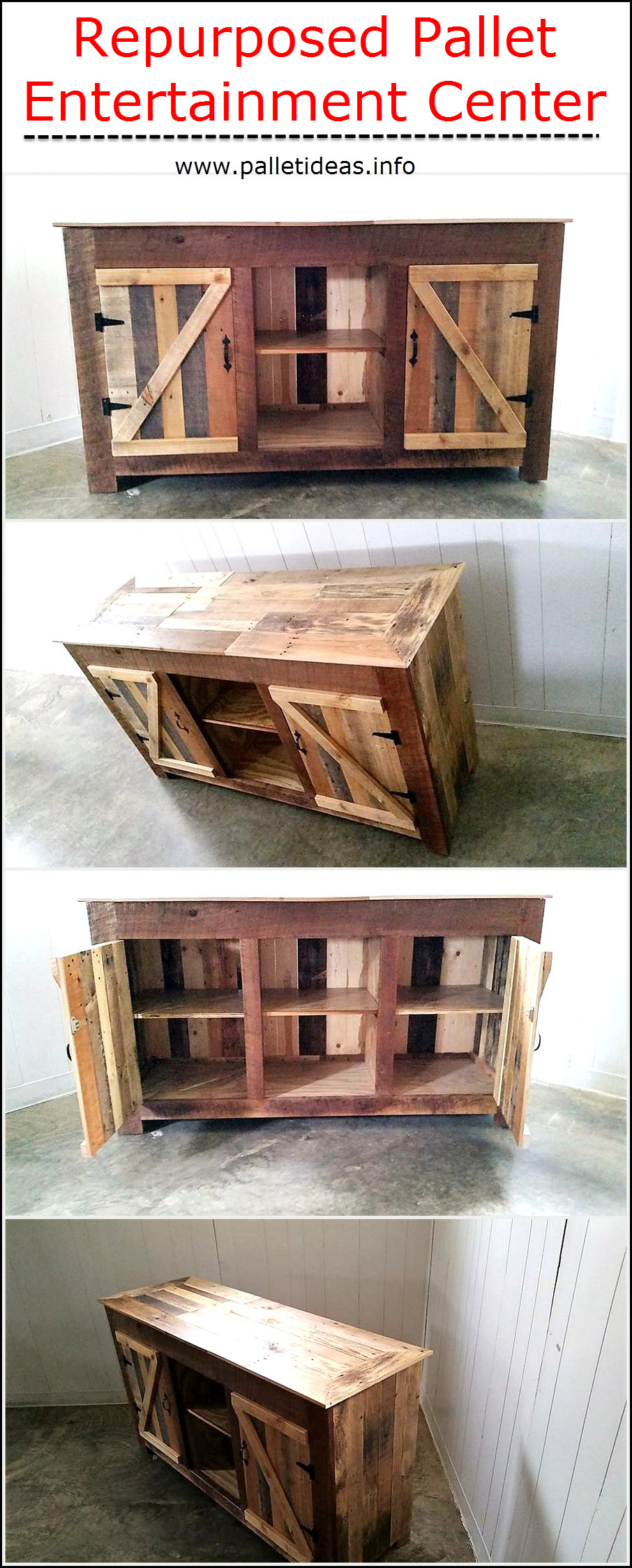 Repurposed pallet entertainment center pallet ideas for Repurposed pallet projects