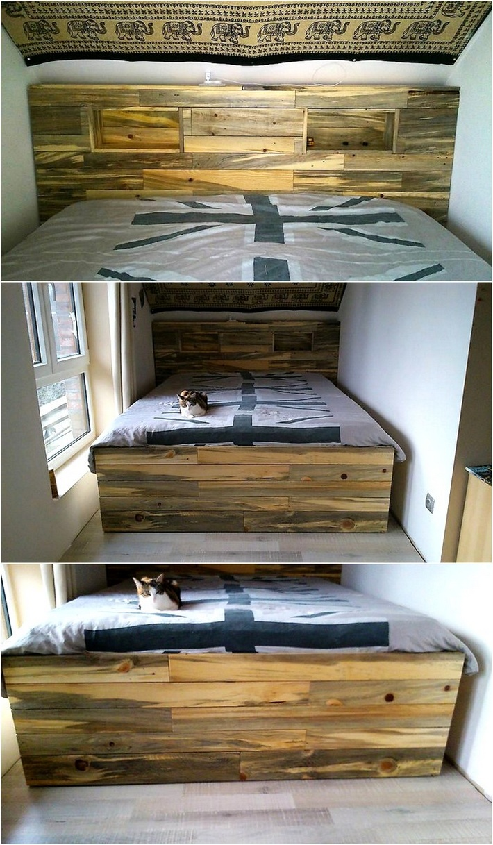 recycled-pallet-wood-bed