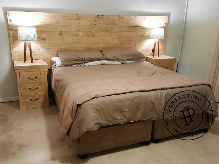 1 pallet bed side tables and headboard
