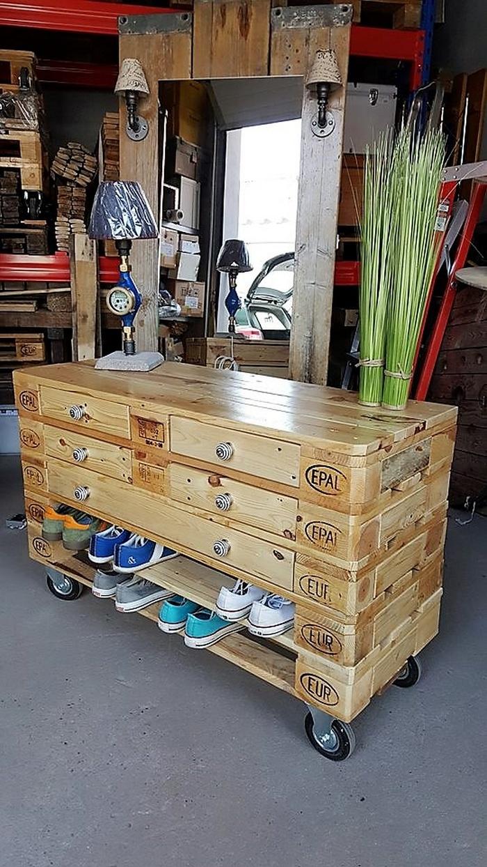 1 pallet side table cum shoe rack