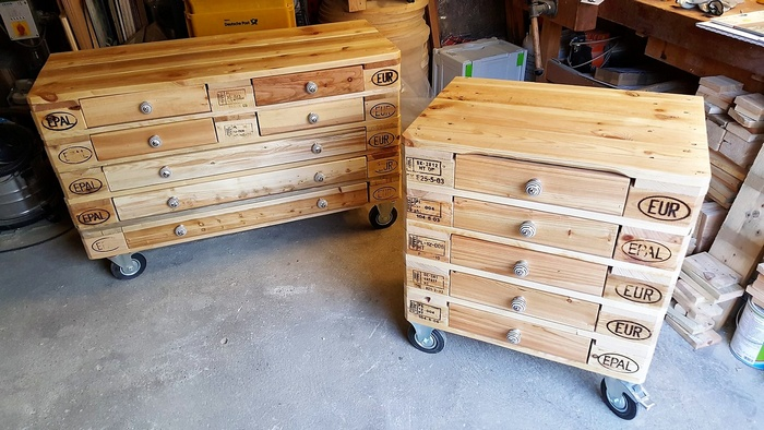 1 pallet side tables with drawers