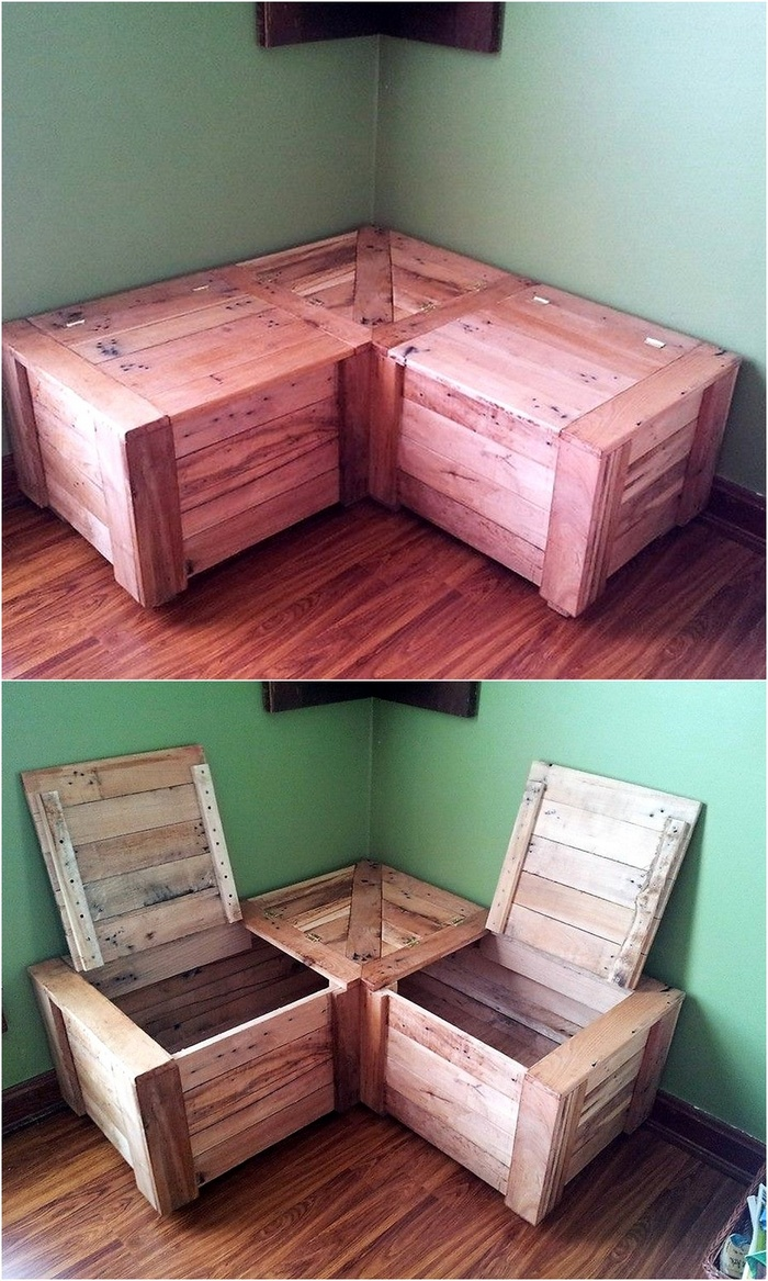 pallet corner seating with storage