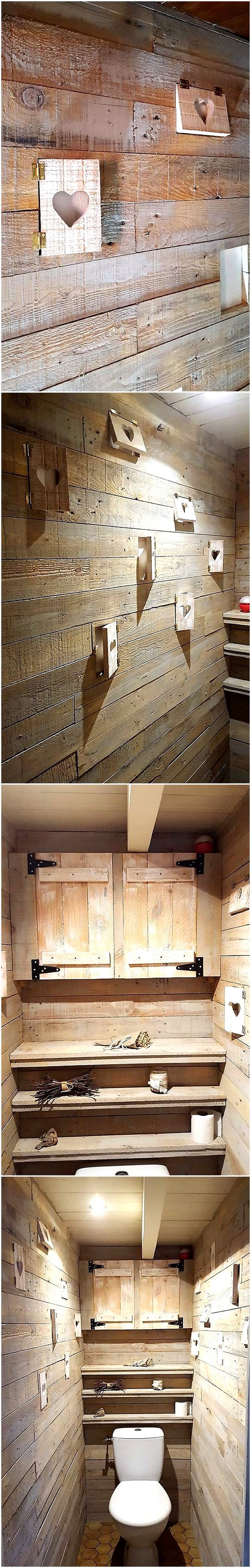 pallet wooden bathroom wall with shelving