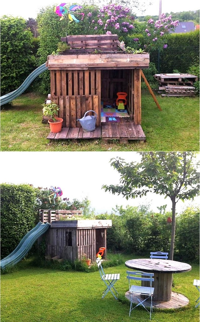 pallets made kids garden playhouse