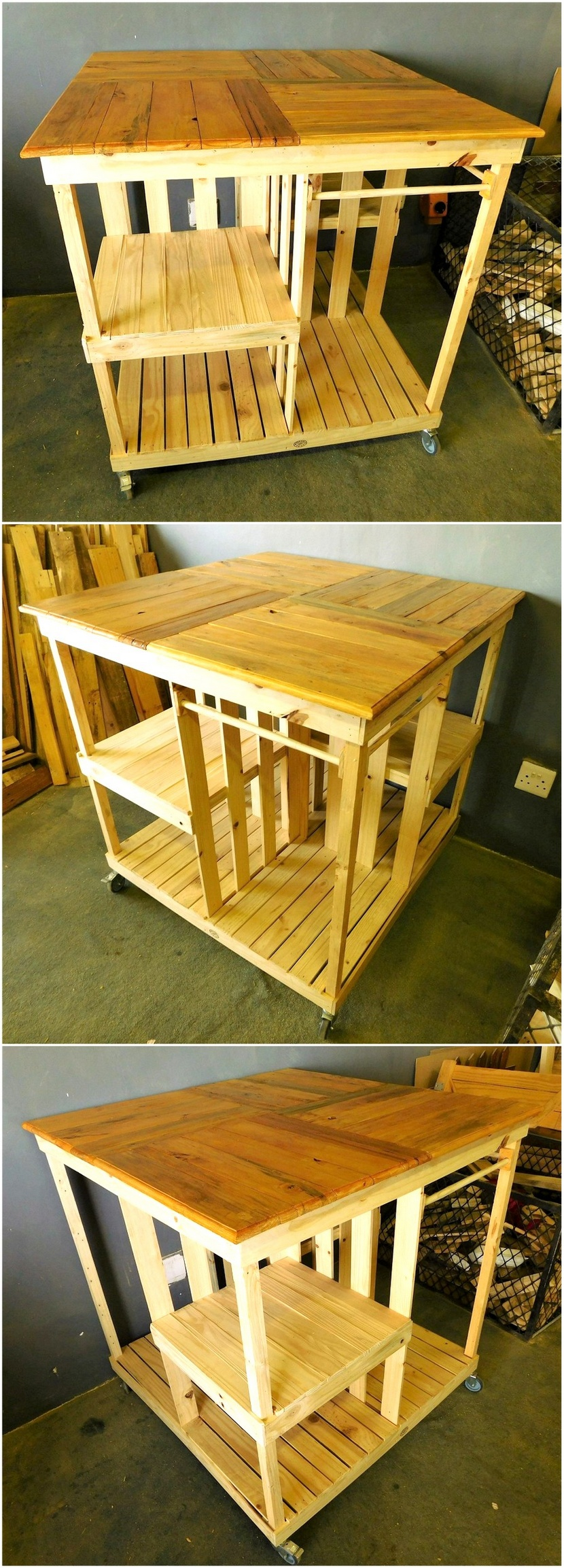 reused pallet wooden kitchen island