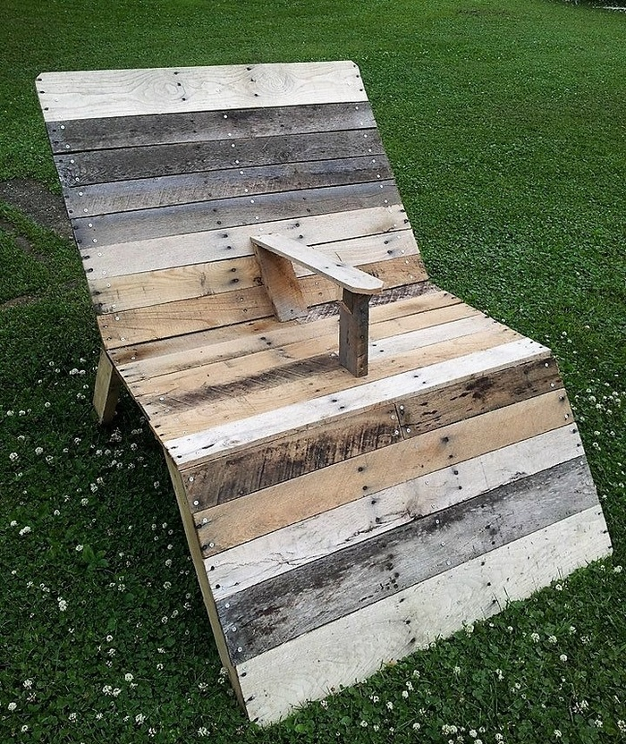wooden pallet double sun lounger