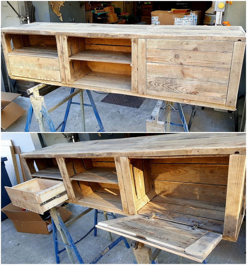 wooden pallet tv stand with drawers