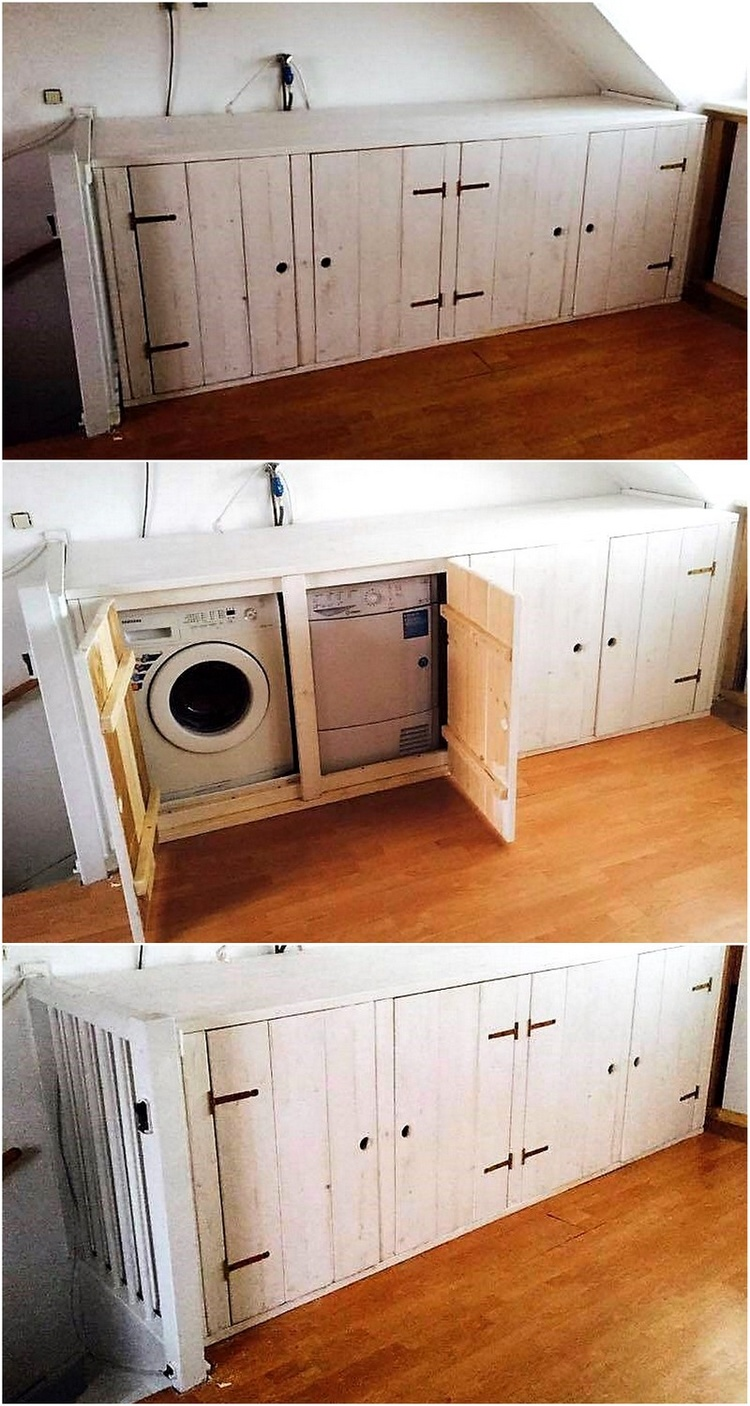 Pallets Washing Machine Cabinet
