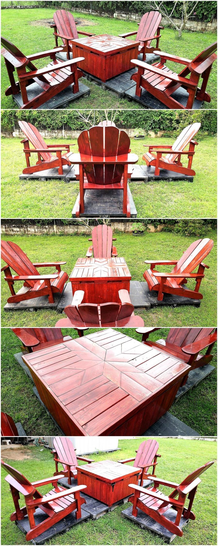 Wood Pallets Adirondack Patio Garden Set