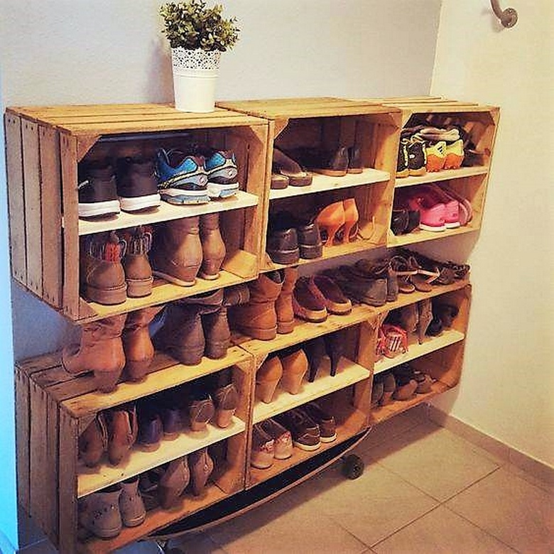 fruit crates shoe rack