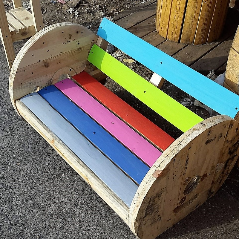 pallet cable reel recycled bench