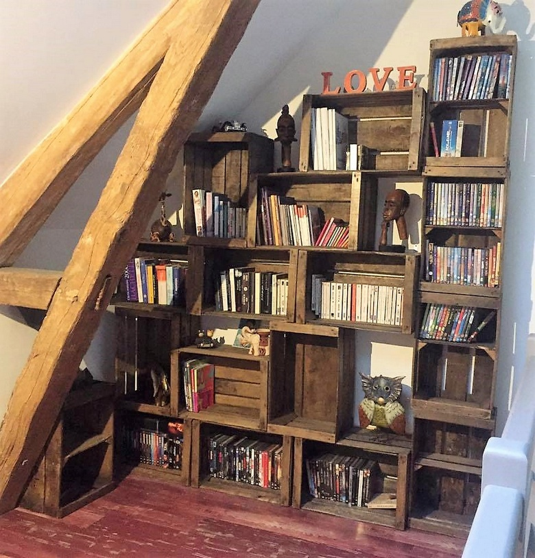 pallet fruit crates bookshelves