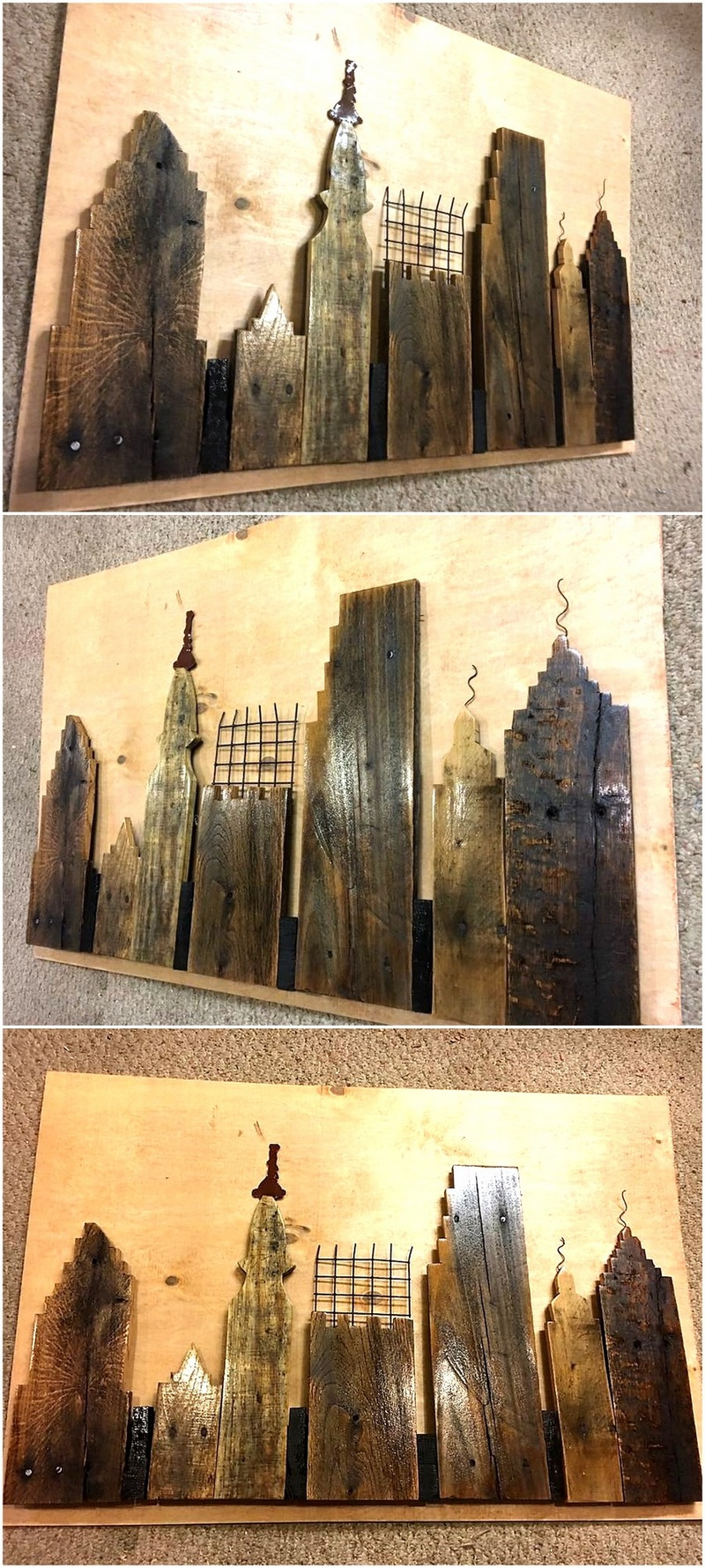 pallet skyline wall art