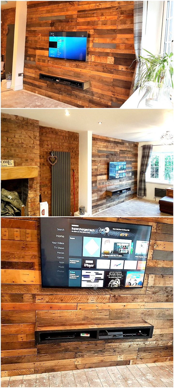 pallet wall cladding and tv stand