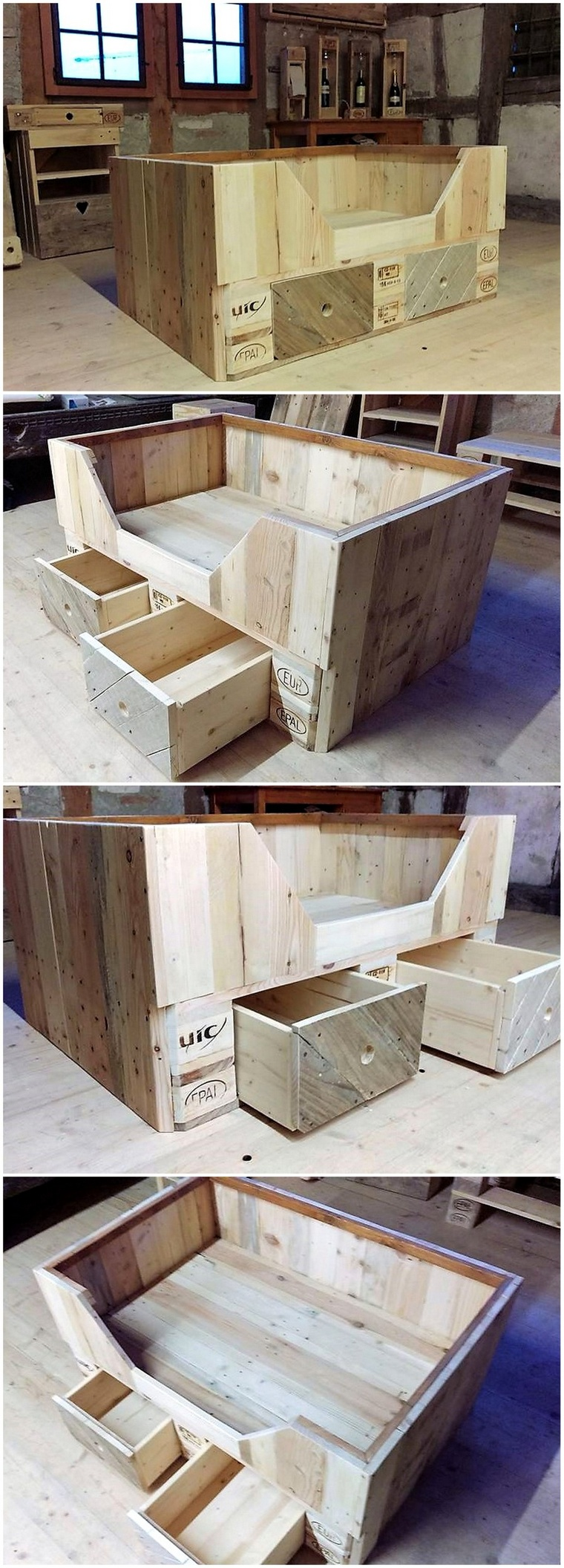 pallets toddler bed with drawers