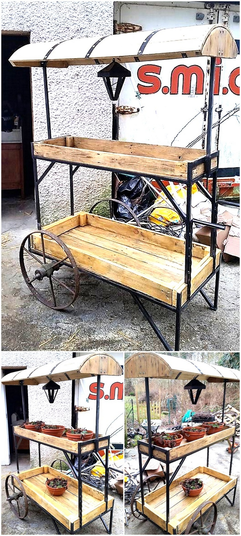 reclaimed pallet patio poting stand art