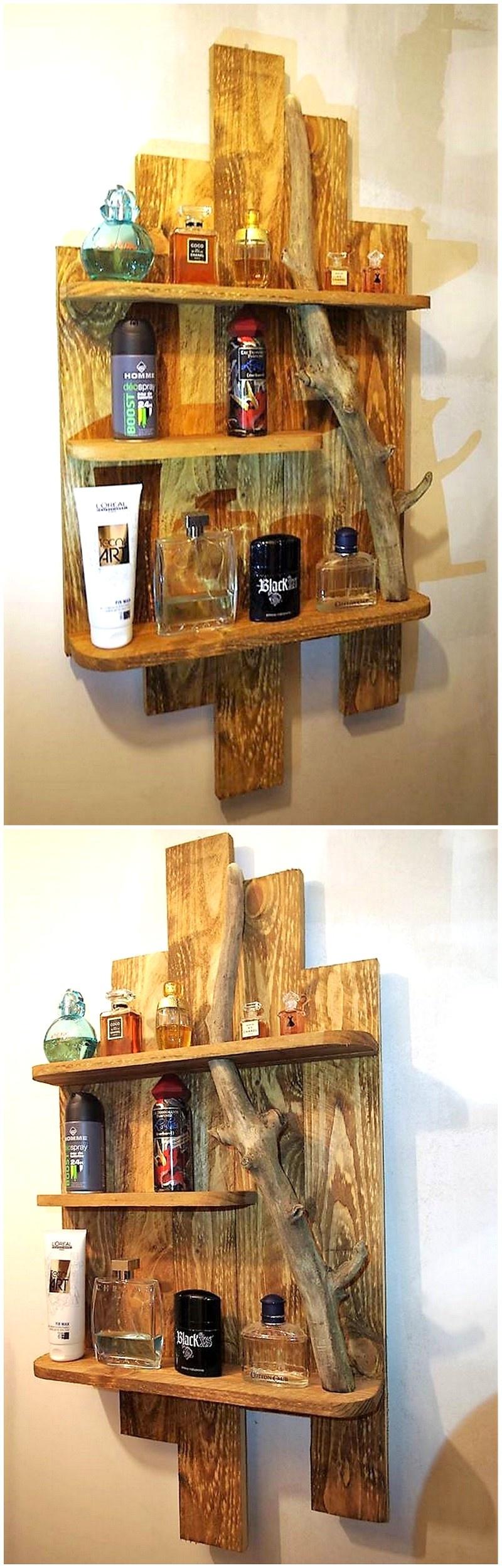 reclaimed pallet shelf art
