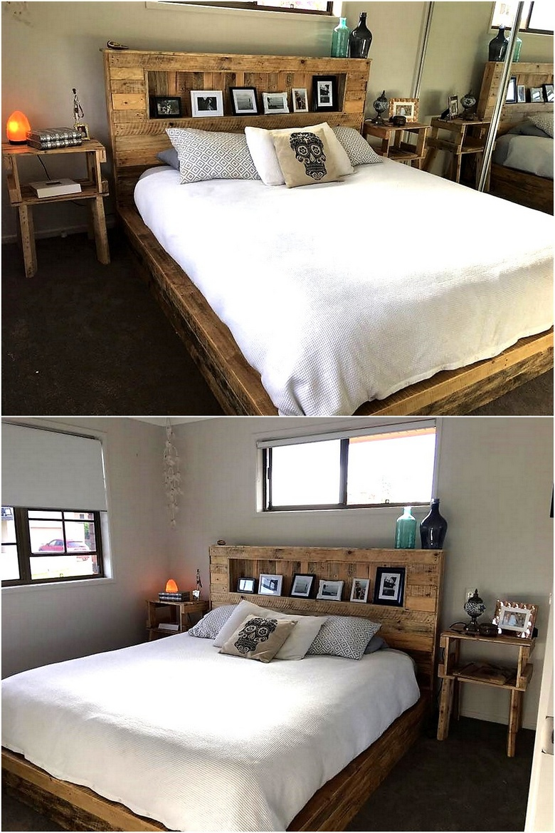 repurposed pallet bed with headboard and side tables