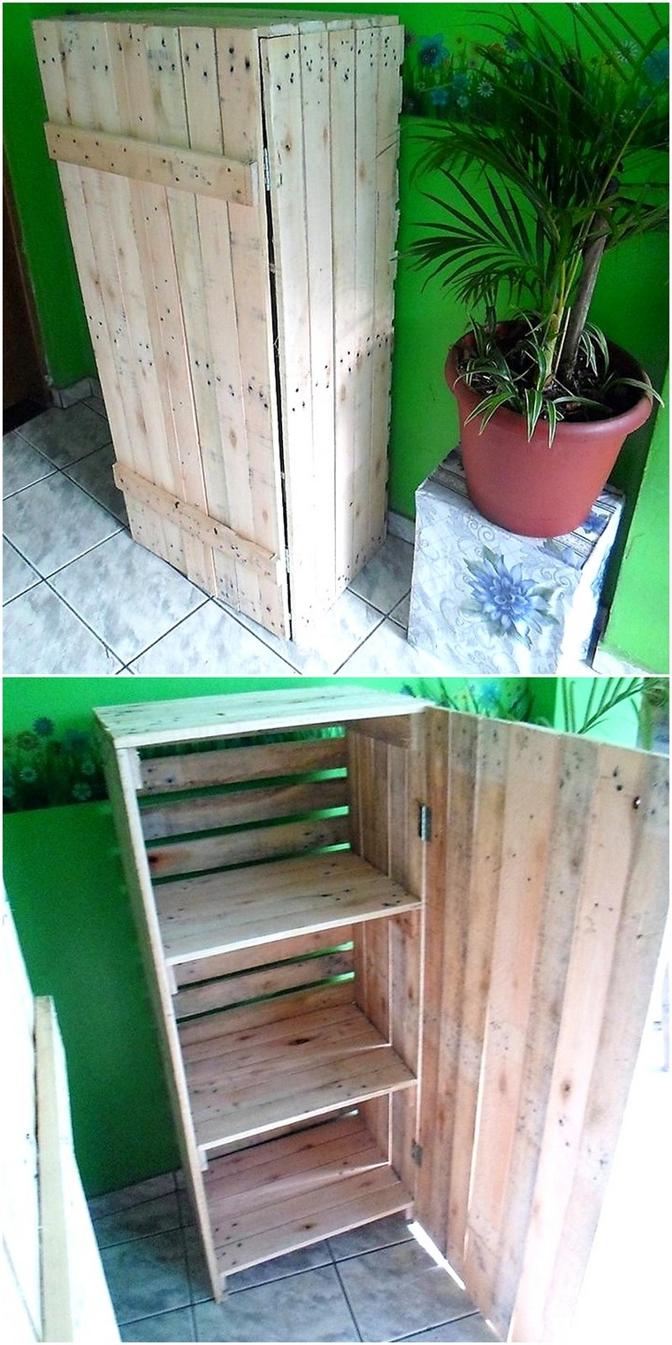 storage cabinet of pallets