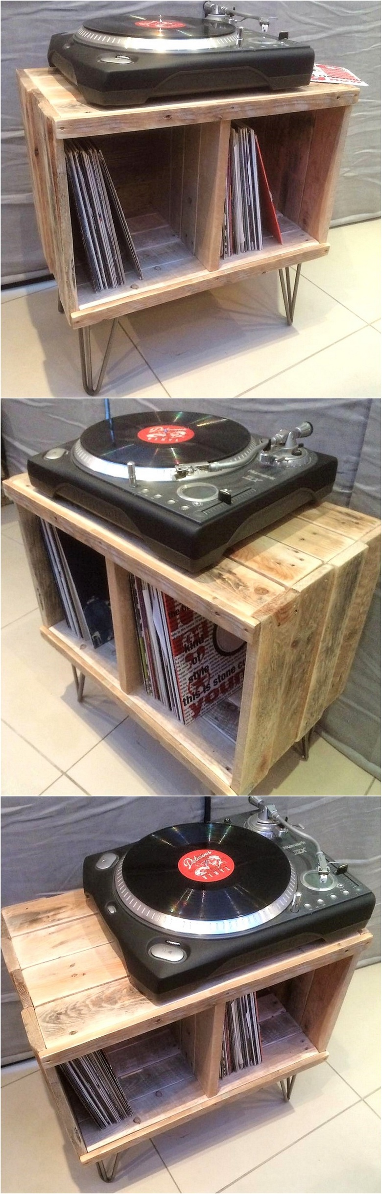wood pallet side table with bookshelf