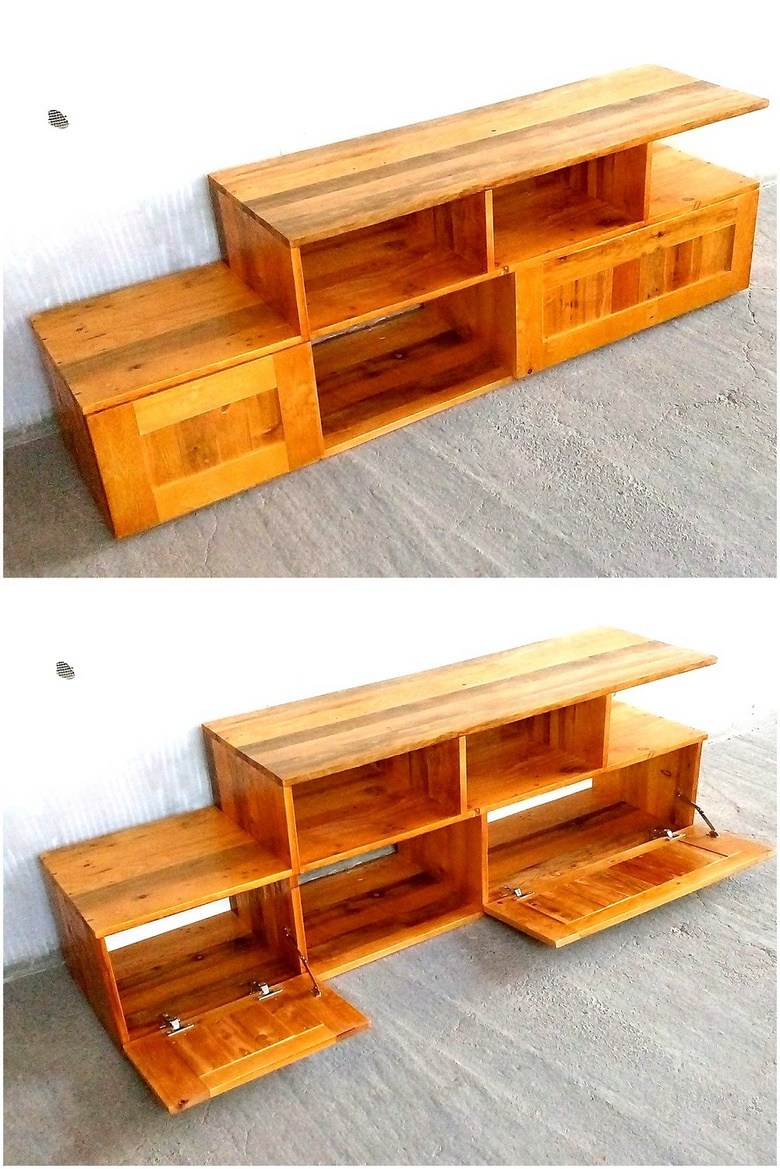 wood pallets media console plan