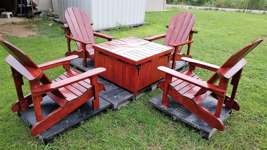 Wooden Recycled Pallets Adirondack Patio Set ...