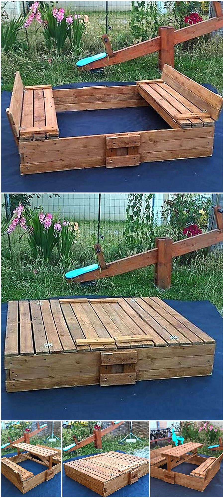 All in One Pallets Bench, Picnic Table, Sandbox Box
