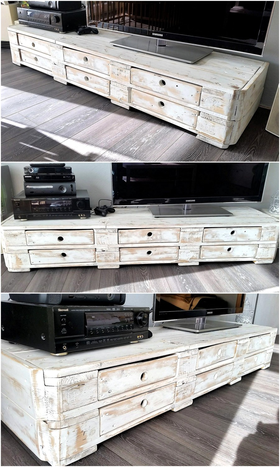 Repurposed Pallets TV Stand with Drawers Plan