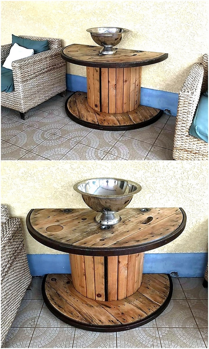 pallet cable reel side table plan