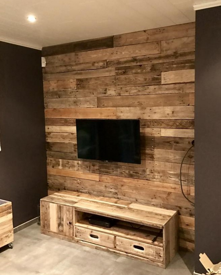 pallet wall art with tv stand