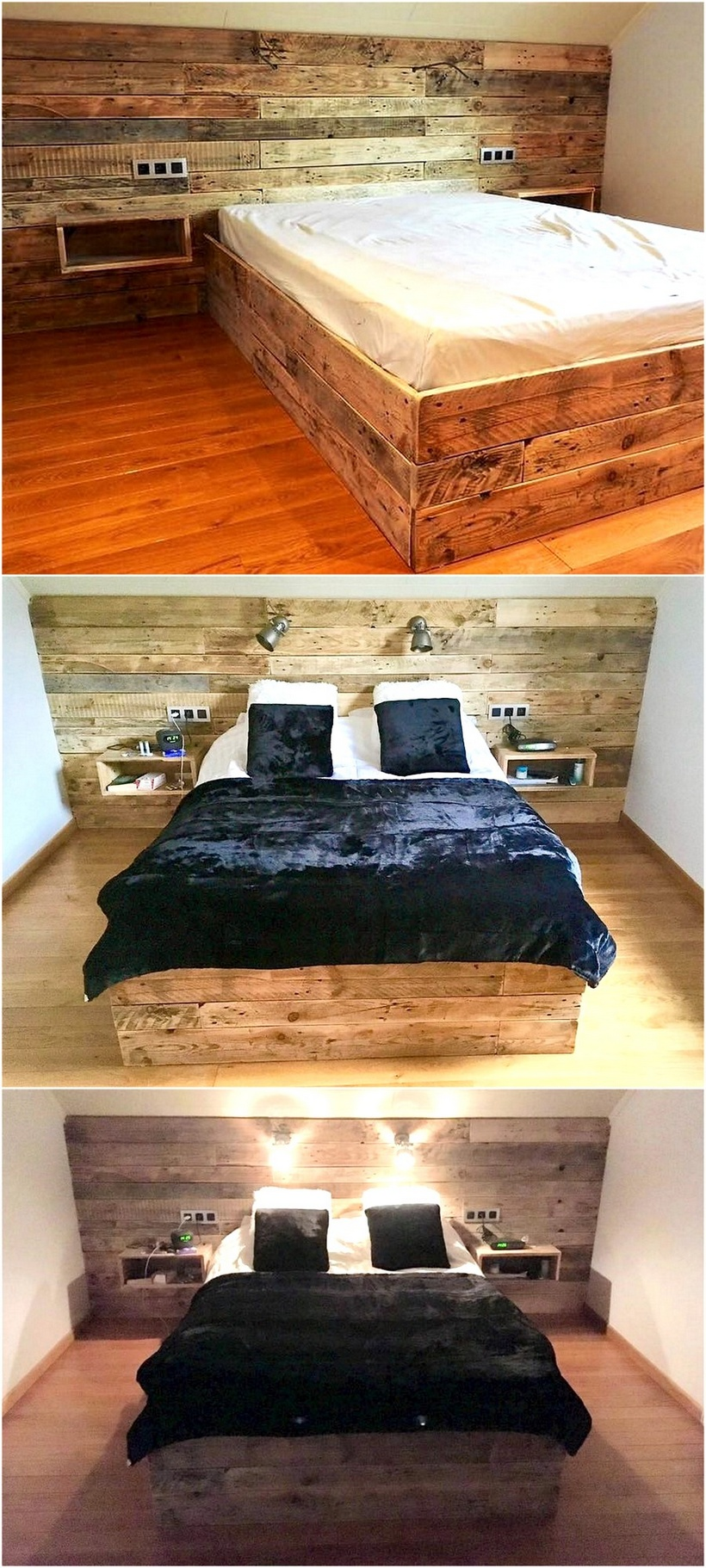 pallets wooden bed with headboard