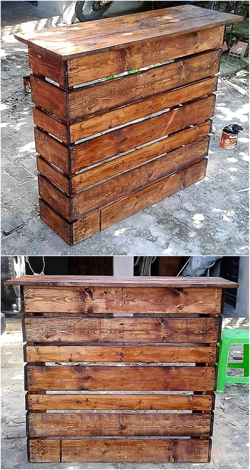 reclaimed wood pallet bar