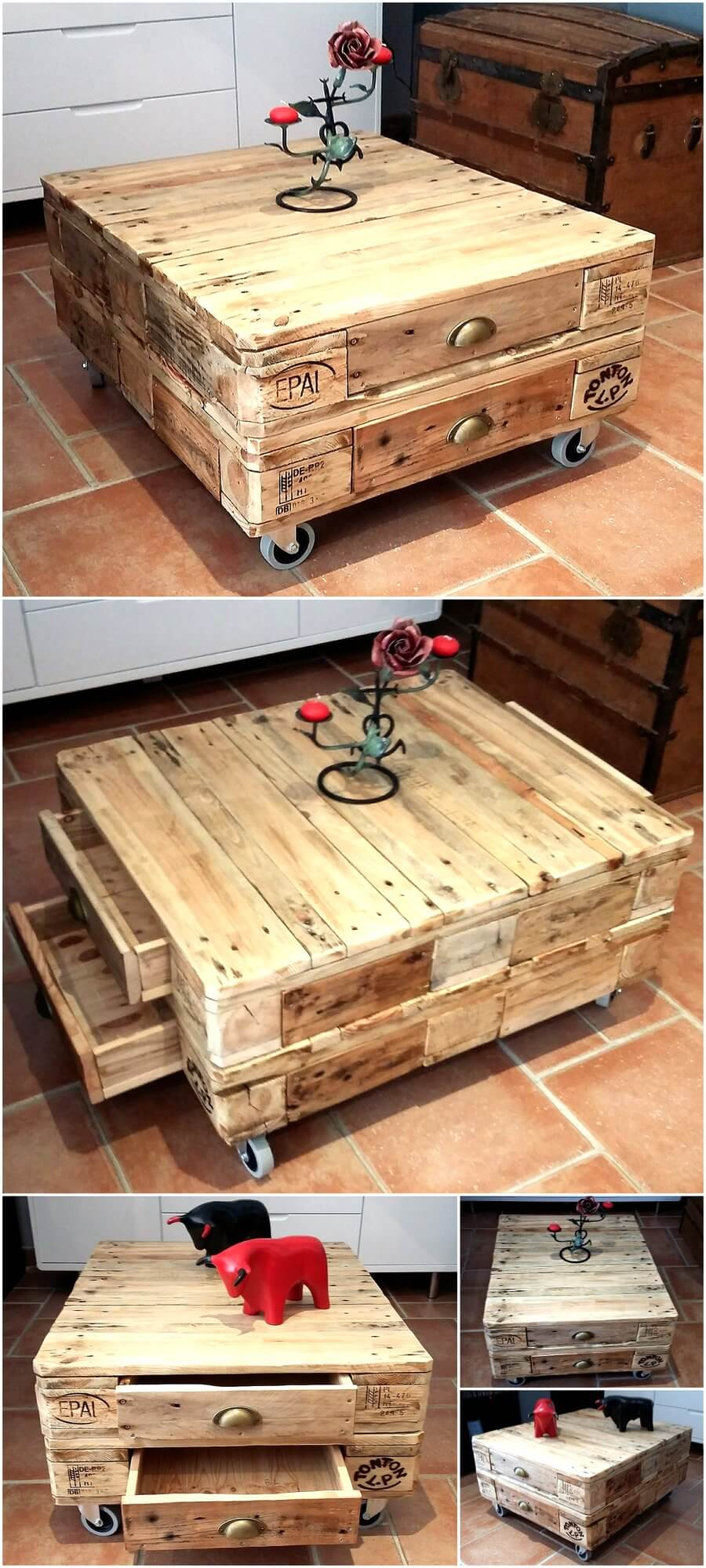 Little pallets coffee table on wheels with drawers for Pallet coffee table ideas