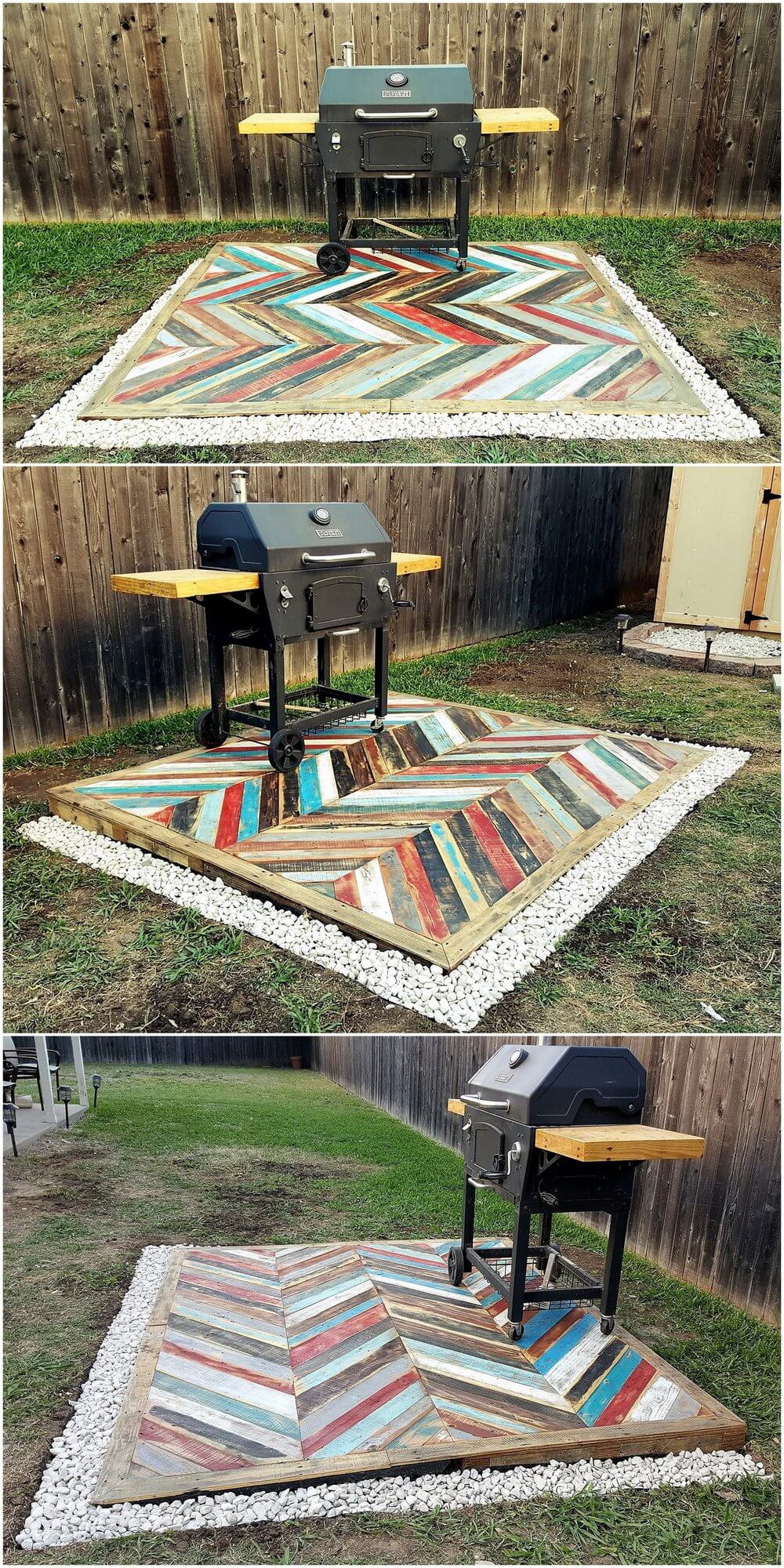 Recycled pallets wooden garden deck pallet ideas for Recycled decking material