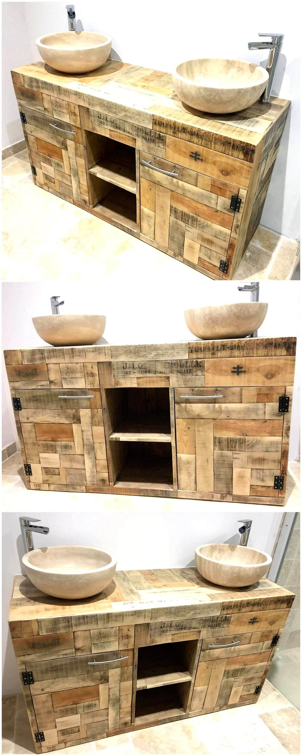 Recycled Wood Pallets Rustic Sink Idea