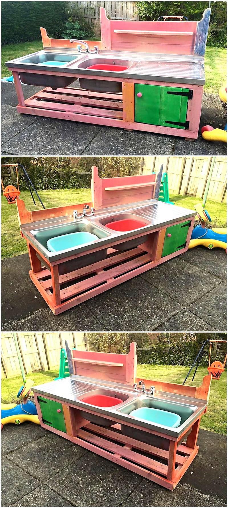 kids mud kitchen made with pallets