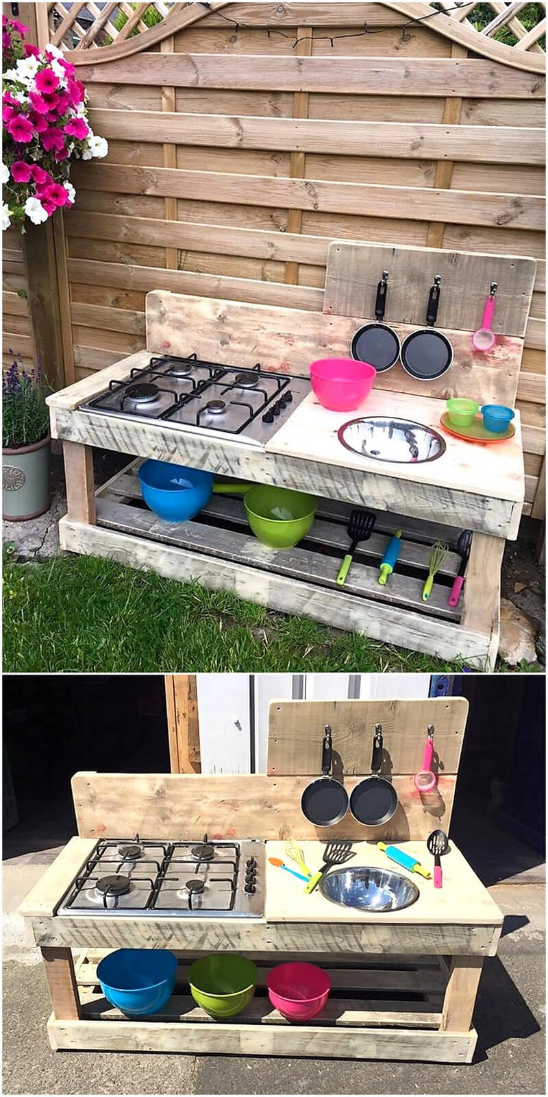 kids mud kitchen out of pallets