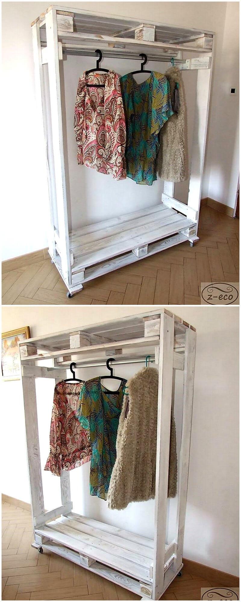 pallet hangers storage wardrobe