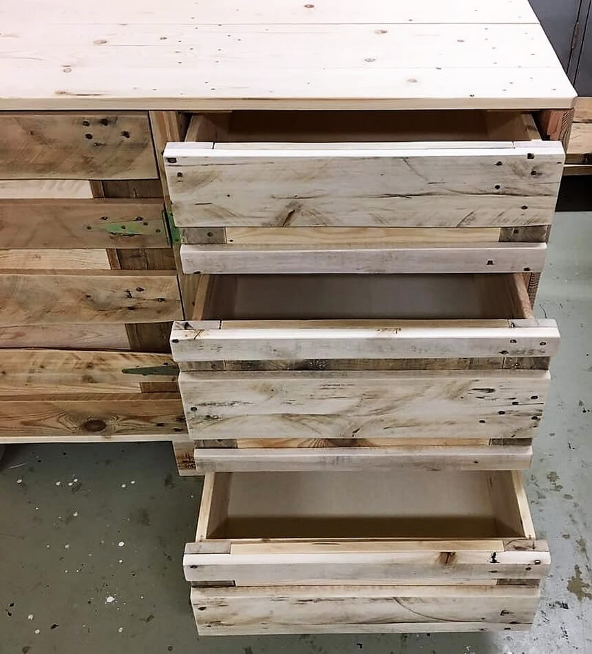 pallet kitchen counter with drawers