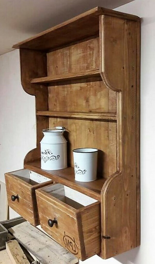 pallet kitchen shelf with drawers 2