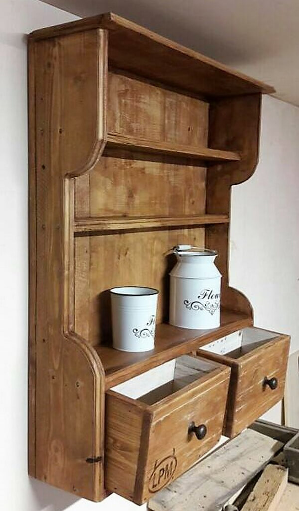 pallet kitchen shelf with drawers
