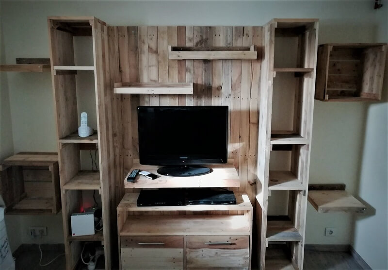pallet media cabinet with attached shelves 1
