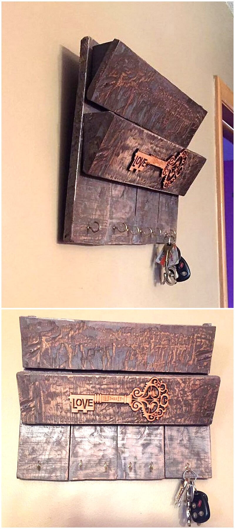 pallet rustic shelf and key holder