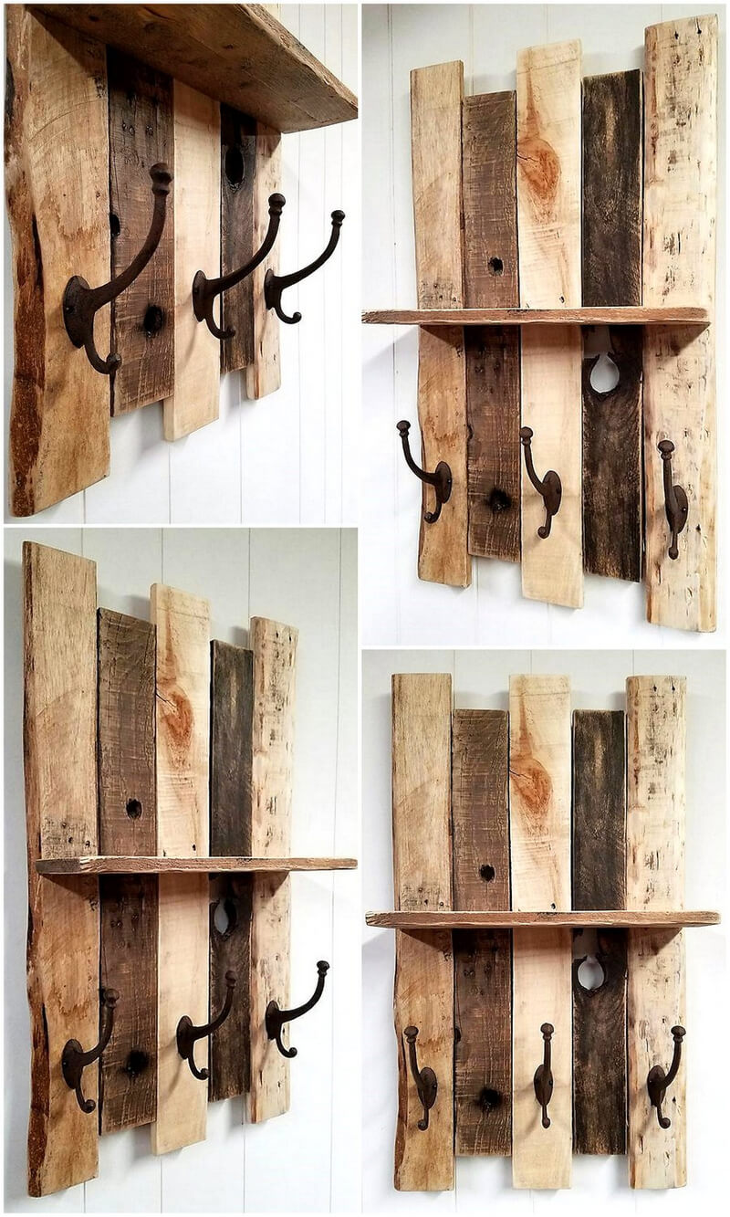 pallet shelf with Vintage style cast iron coat hooks