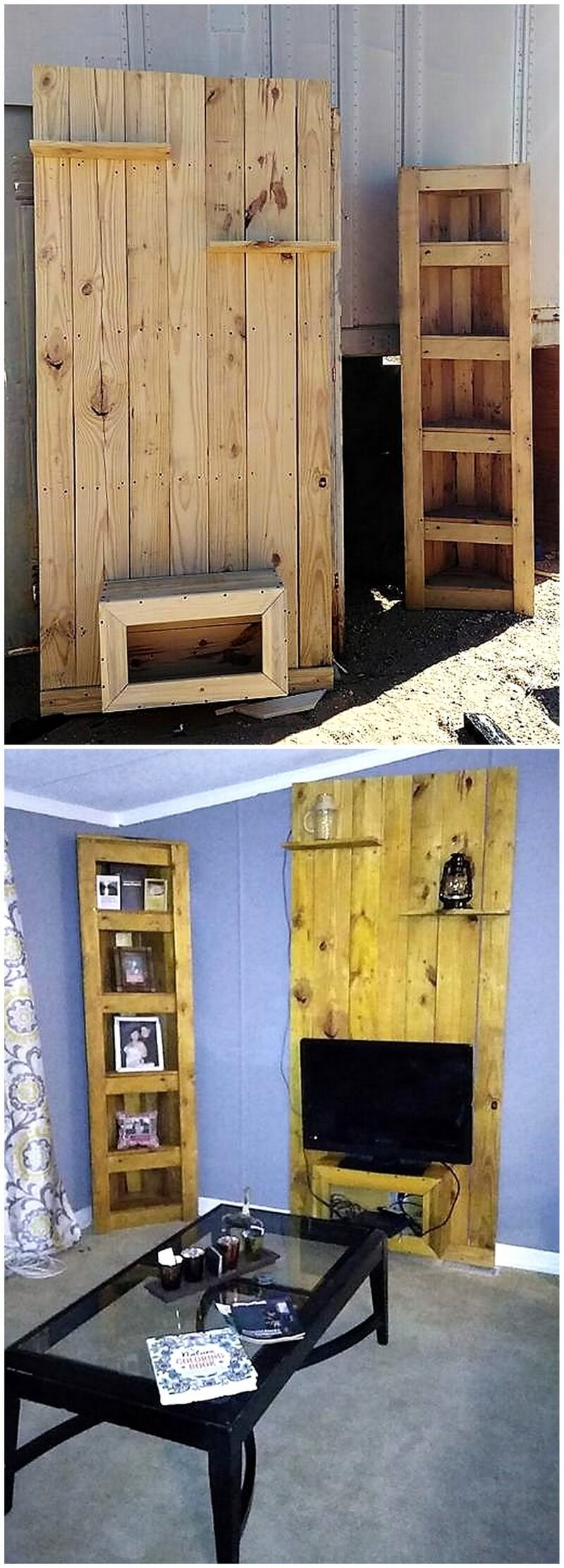 pallet tv stand wall and shelving 1