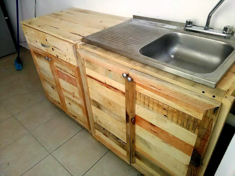 pallet wood kitchen cabinet