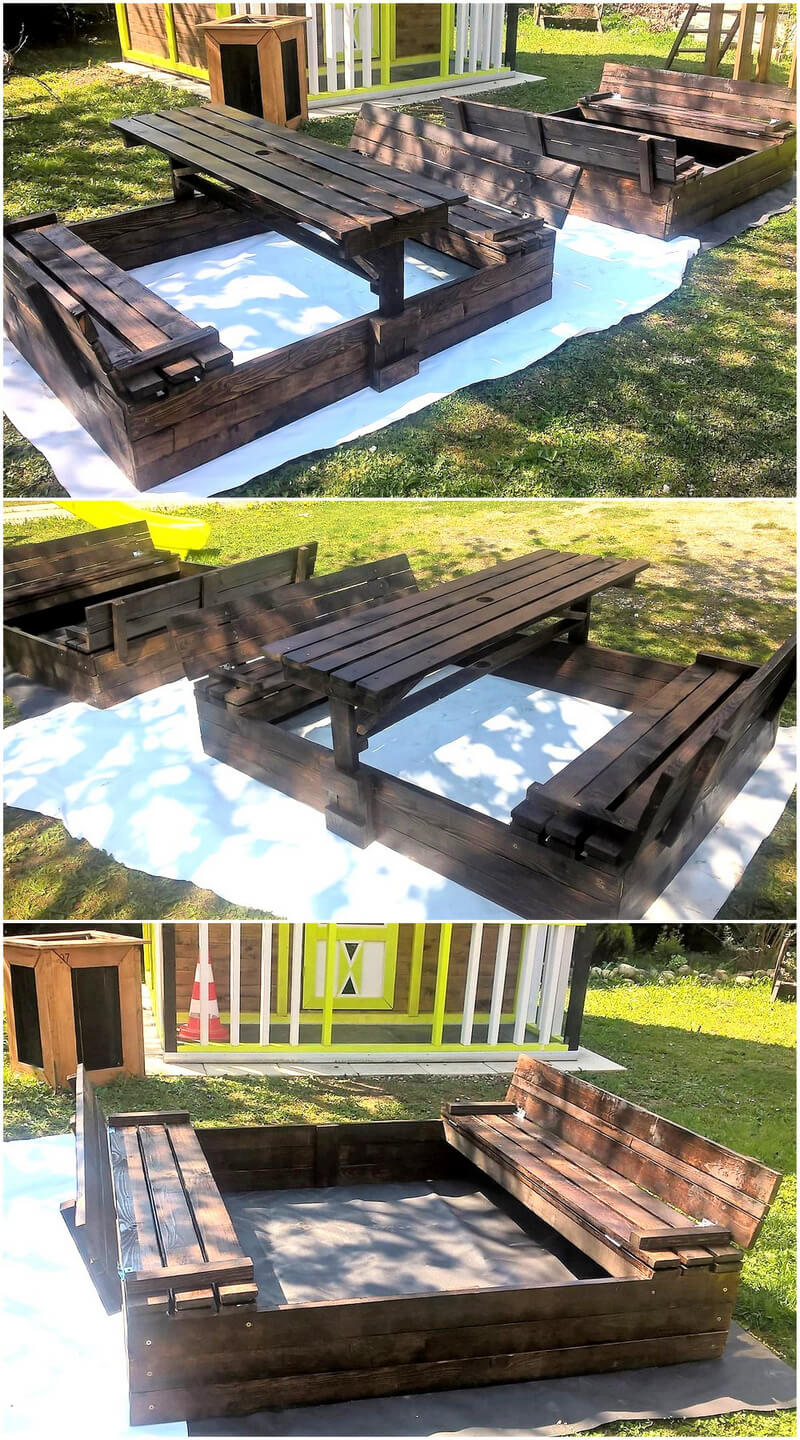 pallet wooden kids play sandox idea