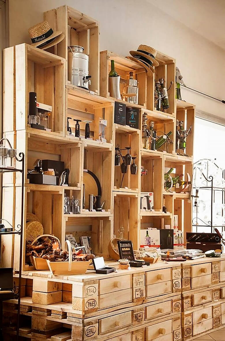 pallets and fruit crates shelving plan 2