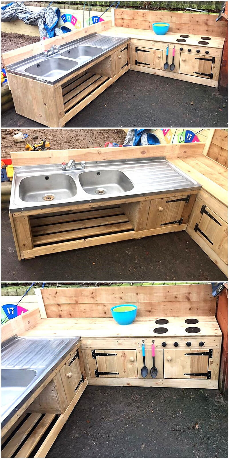 pallets patio kitchen and sink