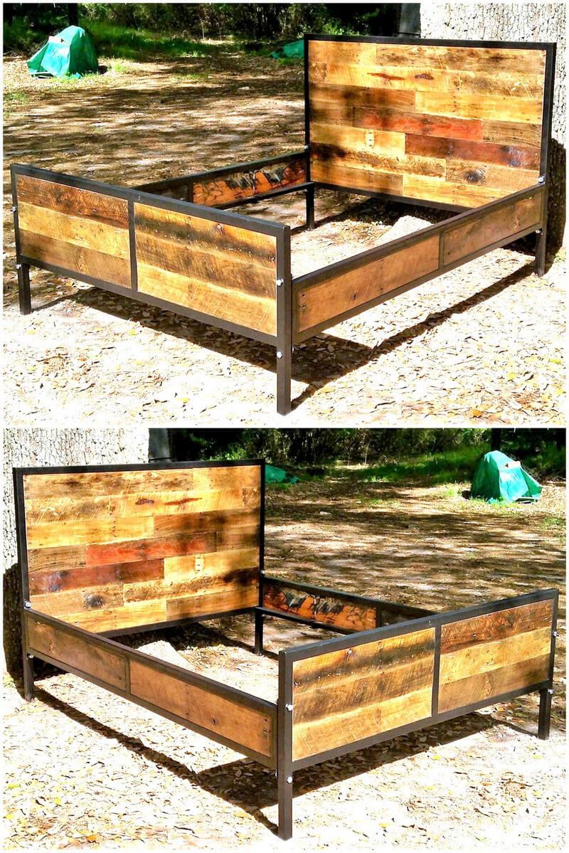 reclaimed pallets bed frame